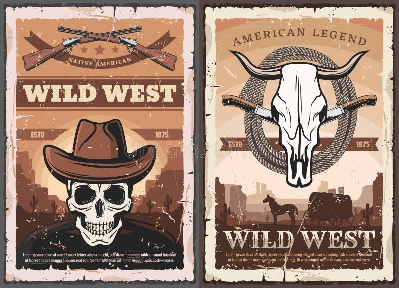 Crâne occidental sauvage dans le chapeau de cowboy, occidental américain illustration de vecteur
