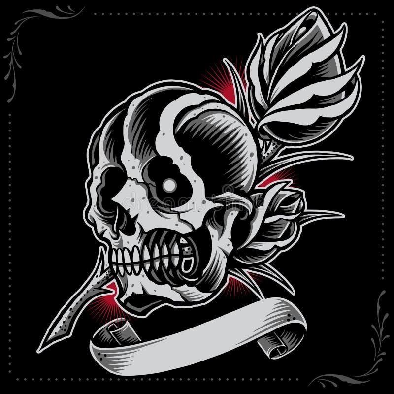 Crâne, Rose et ruban illustration de vecteur