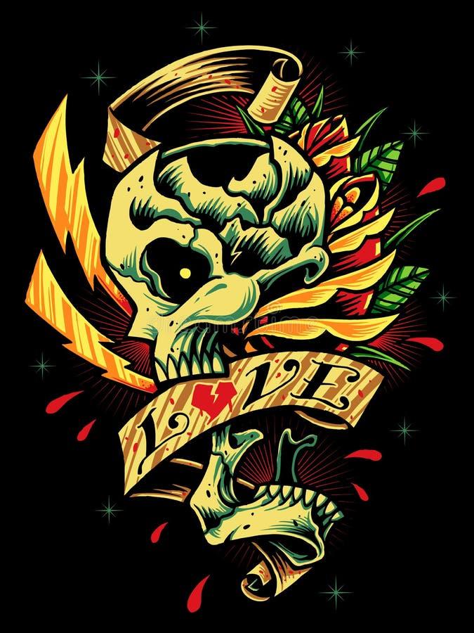 Crâne, roses et ruban illustration de vecteur