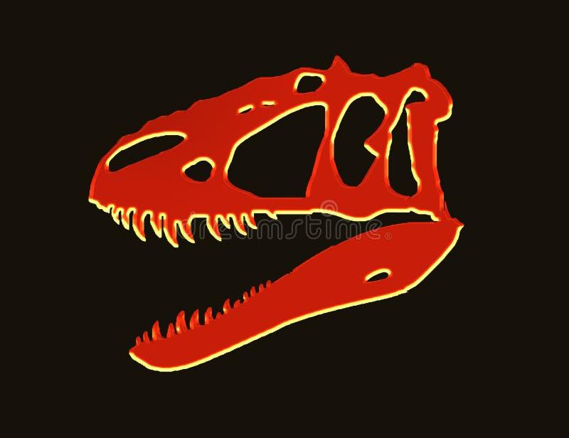 Crâne rouge au néon de t-rex images libres de droits