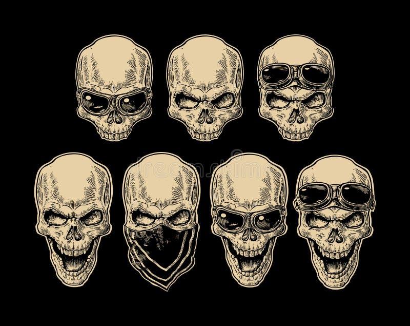 Crâne souriant avec le bandana et les verres pour la moto illustration libre de droits