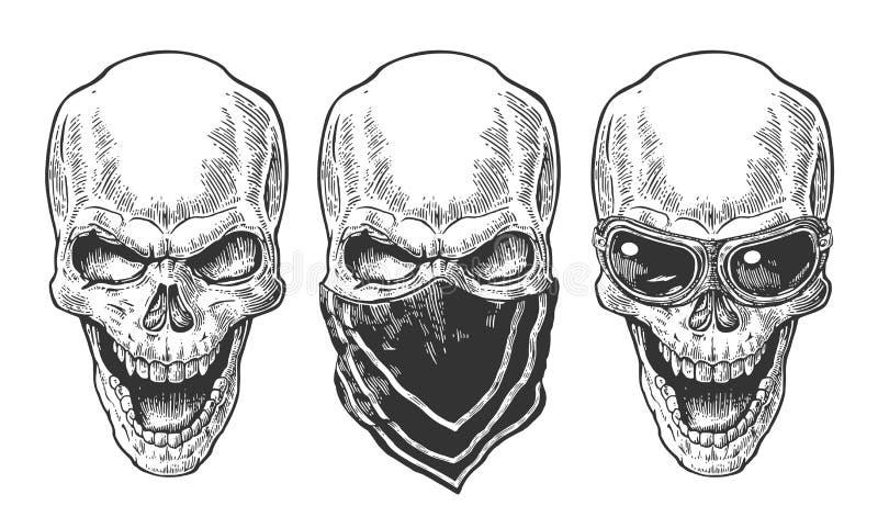 Crâne souriant avec le bandana et les verres pour la moto Illustration noire de vintage Pour le club d'affiche et de cycliste de  illustration libre de droits