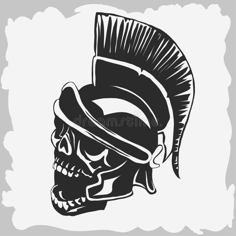 Crâne spartiate de guerrier dans le casque antique Vecteur illustration libre de droits