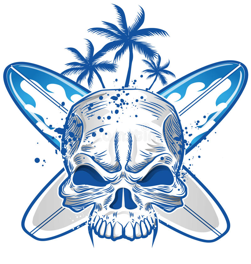 Crâne sur la planche de surf illustration stock