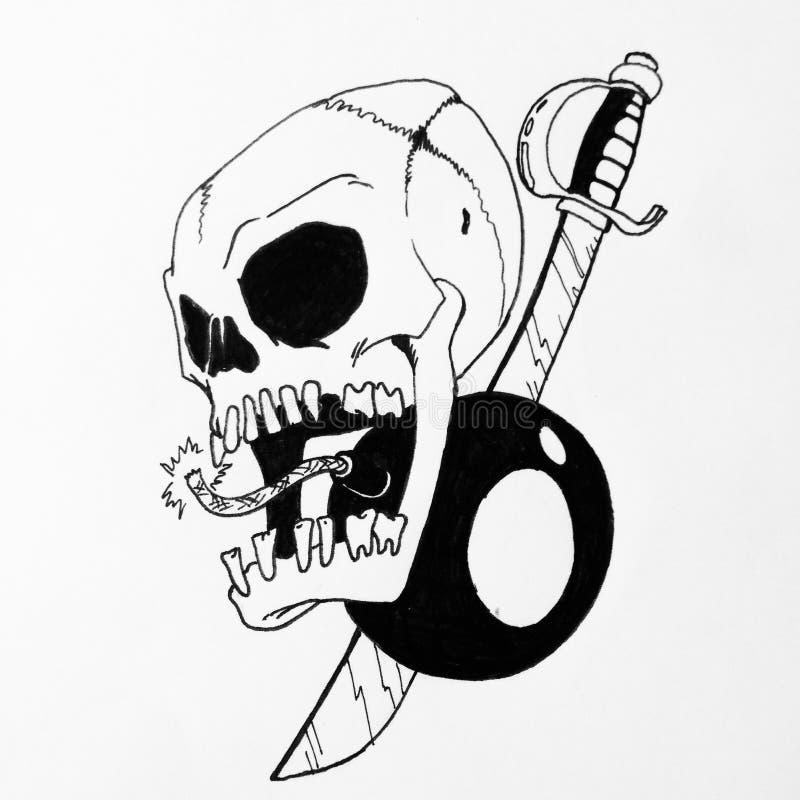 Crâne sur le drapeau image stock