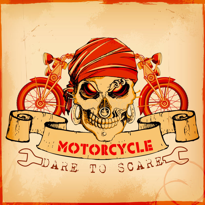 Crâne sur le fond de moto de vintage illustration stock