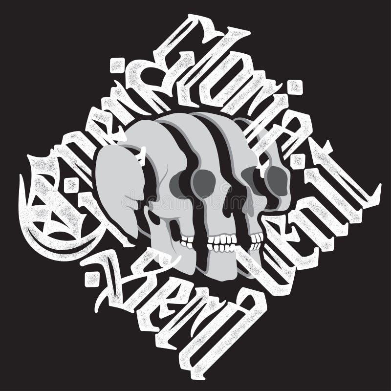 Crâne surréaliste découpé en tranches avec le lettrage gothique illustration stock