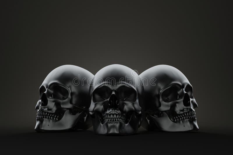 Crâne trois sur le bloc La vie rendent toujours illustration stock