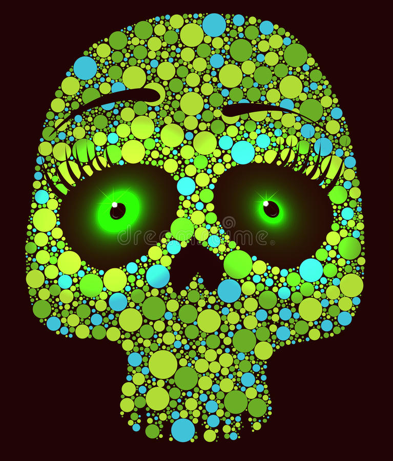 Crâne vert avec des cercles illustration de vecteur