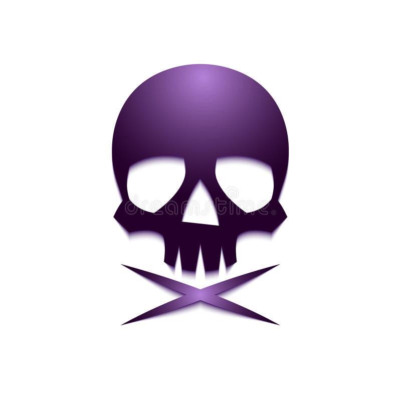 Crâne violet crossbone-01 illustration de vecteur