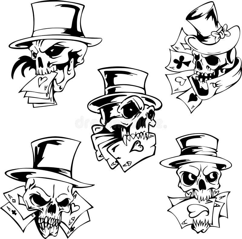 Crânes avec des cartes de jeu illustration de vecteur