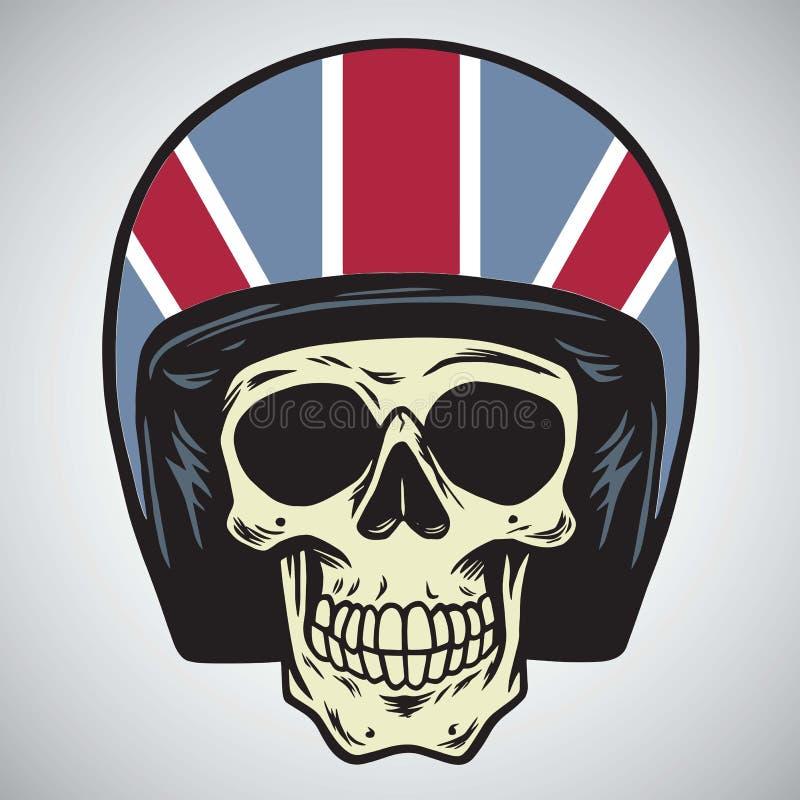 Crânes avec l'illustration de vecteur de casque de moto de l'Angleterre illustration de vecteur