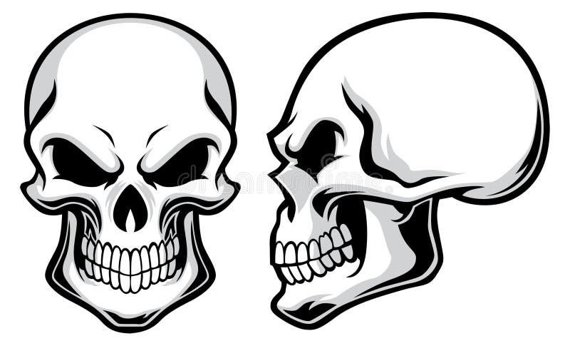 Crânes de bande dessinée illustration de vecteur