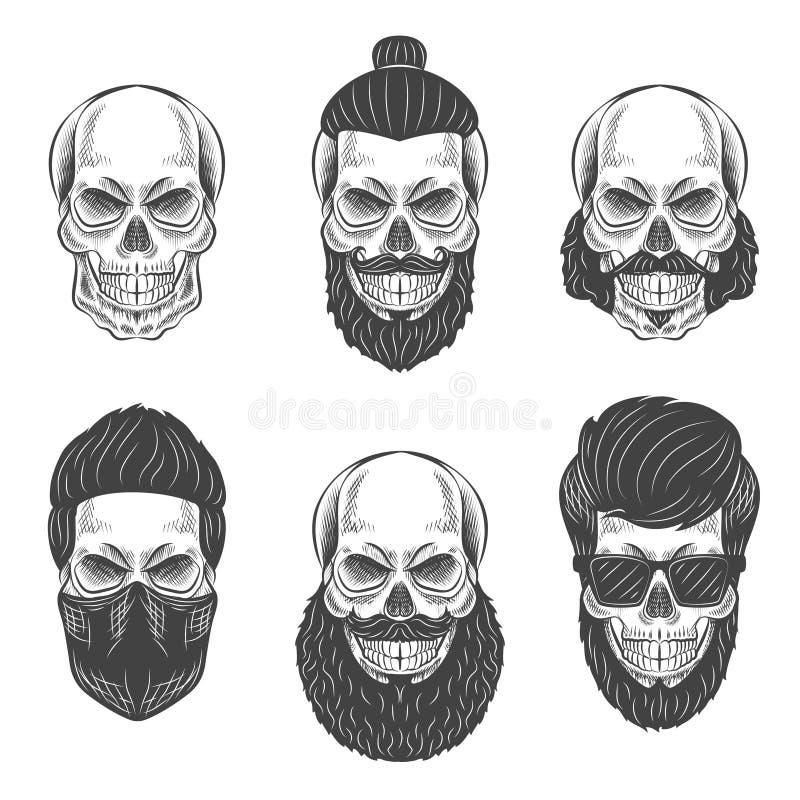 Crânes de Dotwork illustration libre de droits