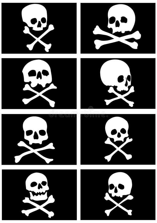 crânes de pirate d'indicateurs d'os croisés illustration stock