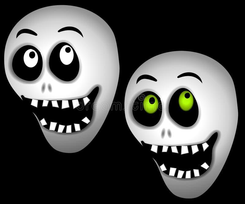 Crânes de squelette de Veille de la toussaint illustration stock