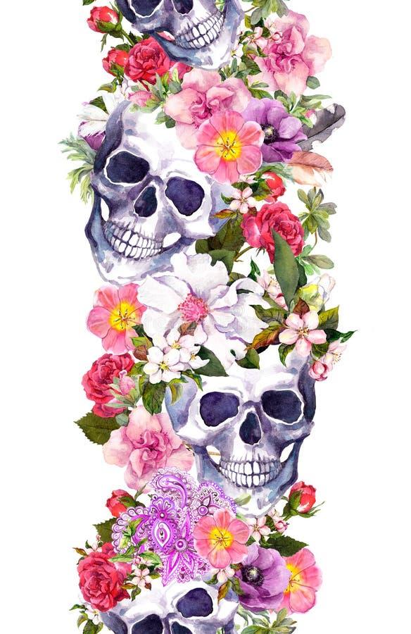 Crânes humains avec des fleurs Cadre sans joint Cadre d'aquarelle illustration libre de droits