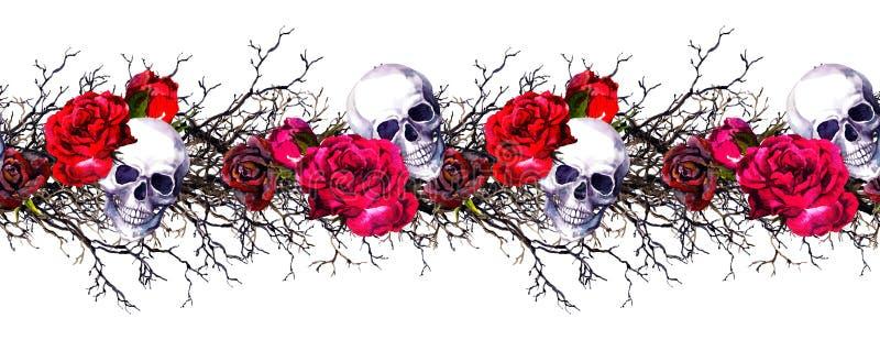 Crânes humains avec les fleurs roses, branches Cadre sans couture de frontière watercolor illustration stock