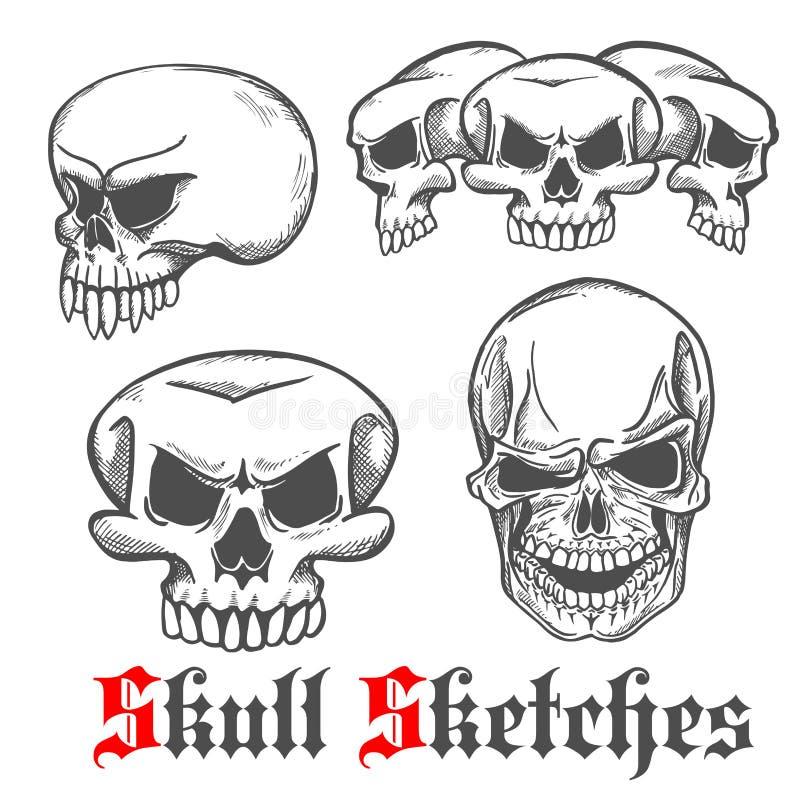 Crânes humains et croquis de crâne de monstre illustration de vecteur