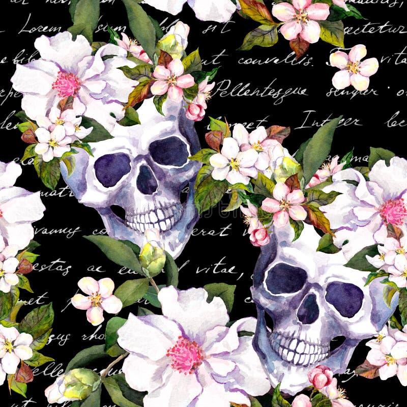 Crânes humains, fleurs blanches Modèle sans couture de vintage avec les notes de lettre écrites par main sur le fond noir waterco illustration libre de droits