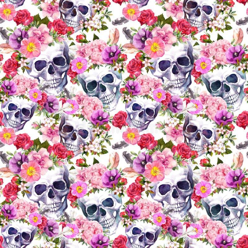 Crânes humains, fleurs Configuration sans joint watercolor illustration de vecteur
