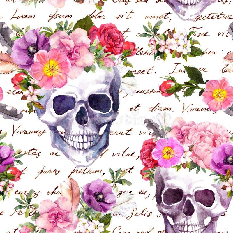 Crânes humains, fleurs pour des vacances de Dia de Muertos Modèle sans couture avec le texte écrit de main watercolor illustration stock