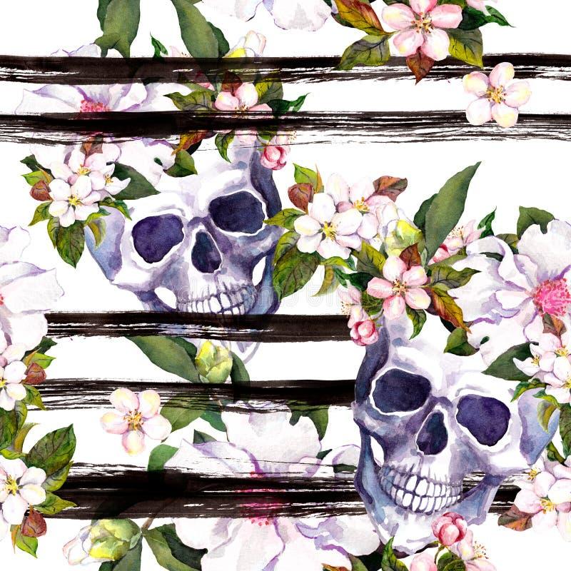 Crânes humains, fleurs pour Halloween Répétition du modèle avec des rayures d'encre watercolor illustration de vecteur
