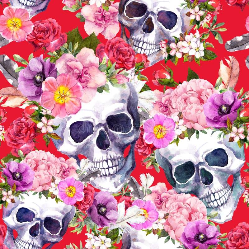 Crânes humains, fleurs sur le fond rouge Configuration sans joint watercolor illustration libre de droits