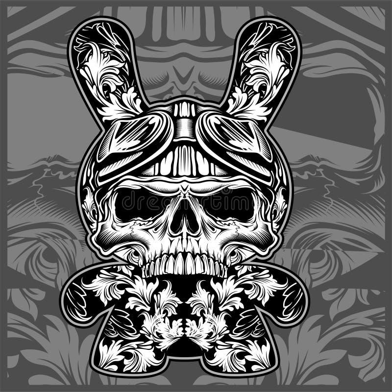 Crânes ornementaux floraux, vecteur de dessin de main illustration stock