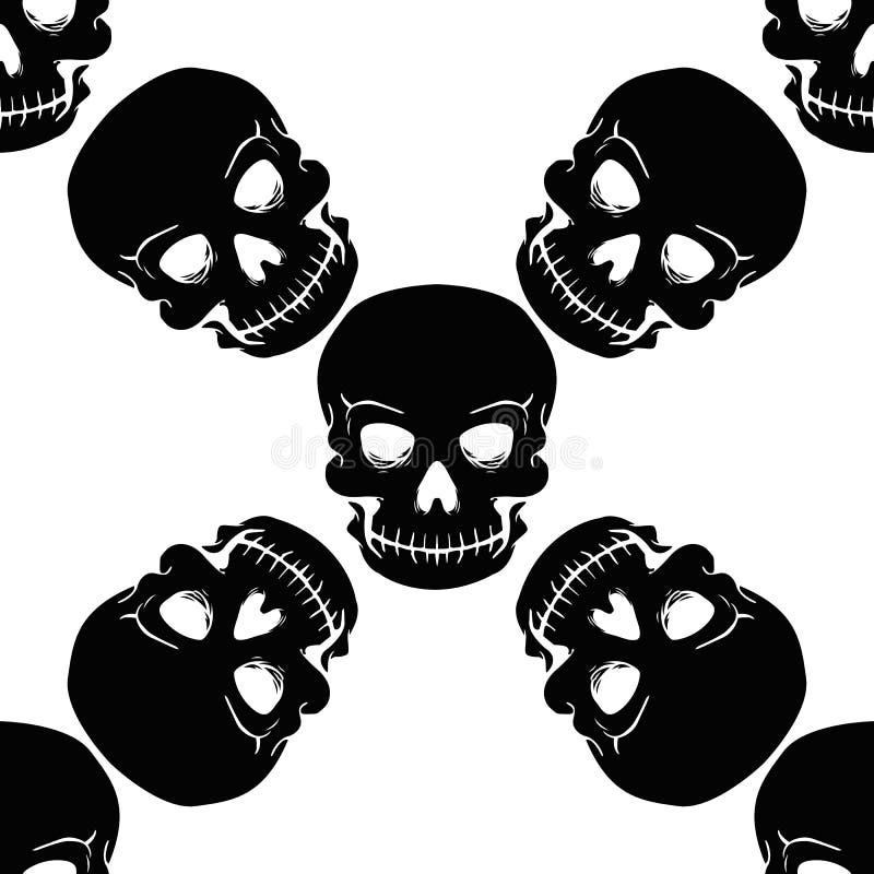 Crânes sans couture de noir de modèle sur un fond photos stock