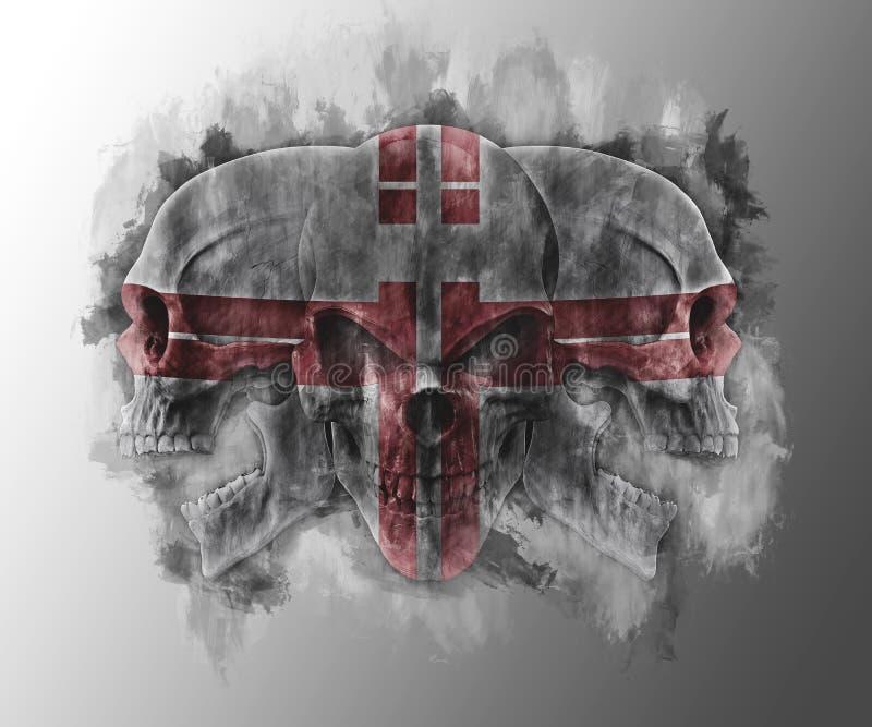 Crânes tribals apocalyptiques de courrier trois illustration de vecteur