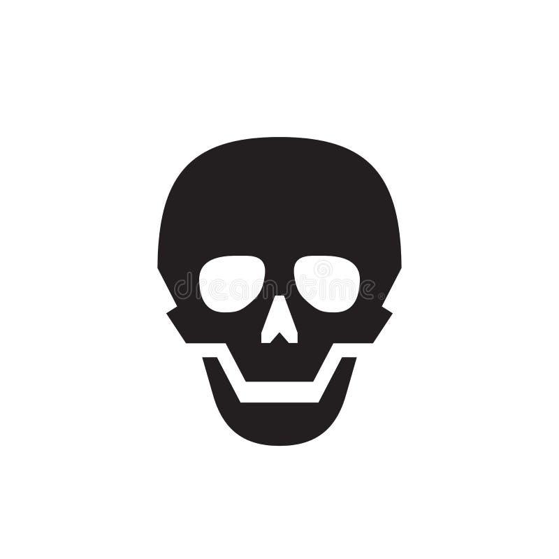 Crânio - ícone preto na ilustração branca do vetor do fundo para o Web site, aplicação móvel, apresentação, infographic Sceleton  ilustração royalty free