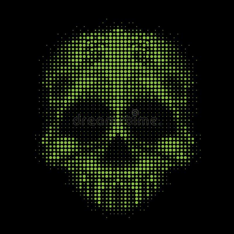 Crânio abstrato da ilustração com bolhas verdes dos círculos coloridos no projeto preto do vetor da textura do fundo ilustração royalty free
