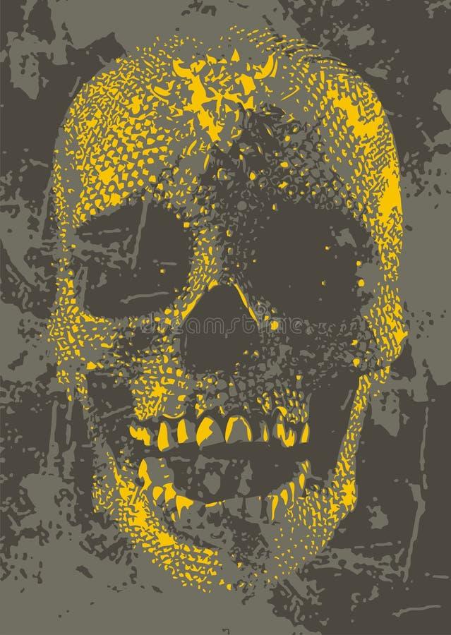 Crânio amarelo ilustração royalty free