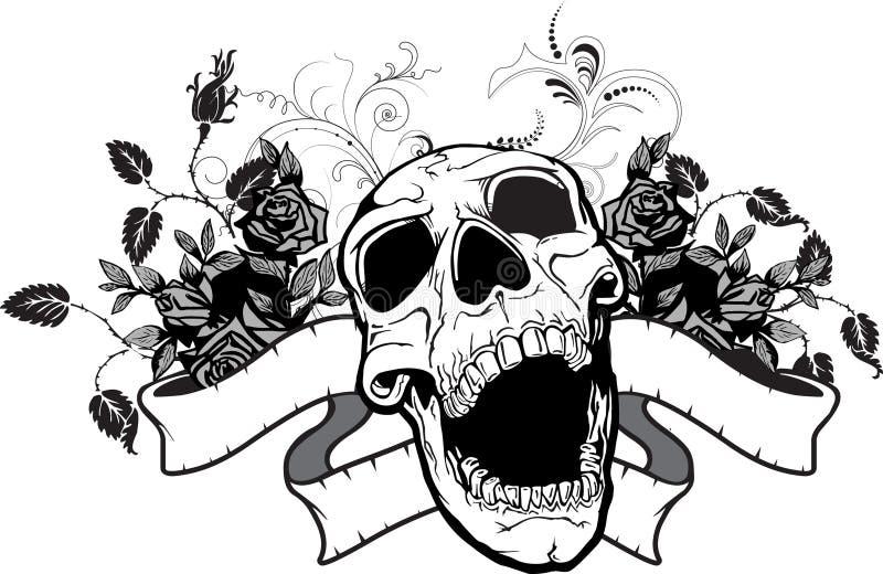 Crânio & rosas ilustração do vetor