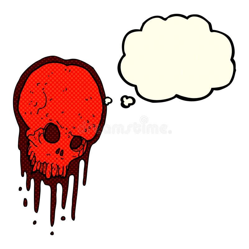 crânio assustador dos desenhos animados com bolha do pensamento ilustração royalty free
