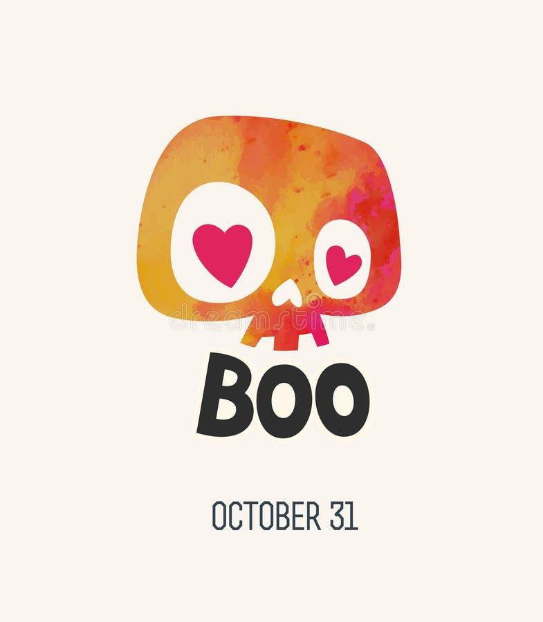 Crânio bonito dos desenhos animados da aquarela Cartaz de Boo Happy Halloween ou ilustração do vetor do molde do cartão ilustração do vetor