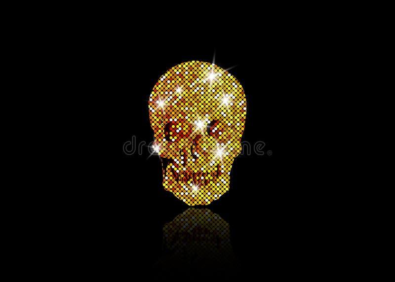 Crânio brilhante de estrelas de brilho do ouro Coleção dourada do elemento Dia dos mortos Testes padrões de mosaico do ouro do pr ilustração royalty free