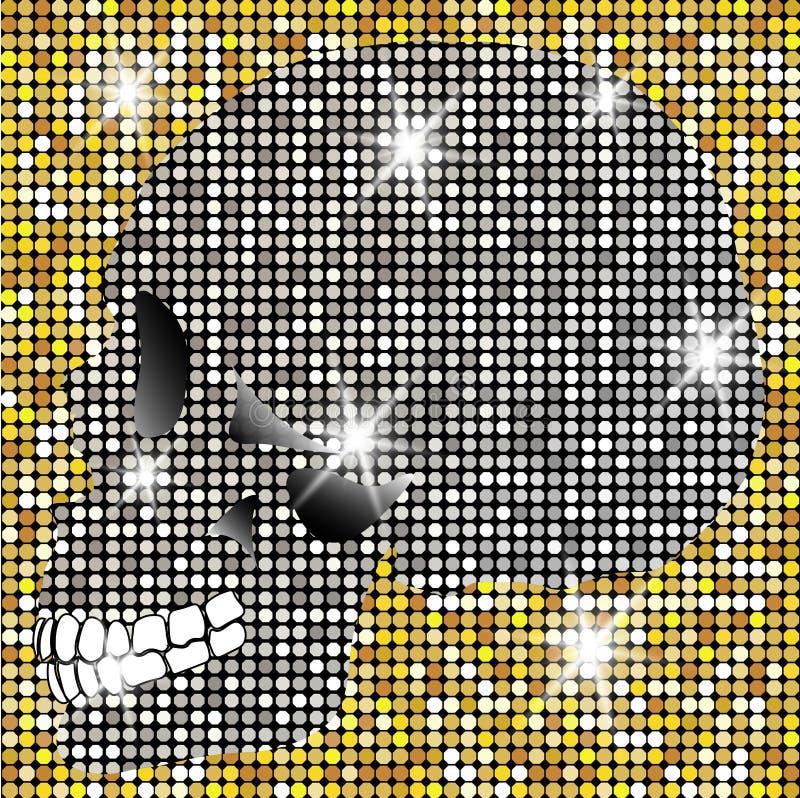 Crânio brilhante dos diamantes e de estrelas de brilho do ouro Coleção dourada do elemento Dia dos mortos Projeto da forma do sím ilustração stock
