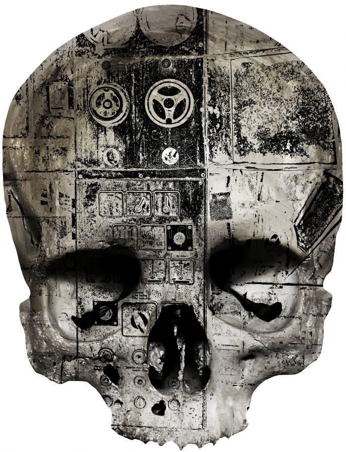 Crânio coberto com o teste padrão abstrato ilustração do vetor