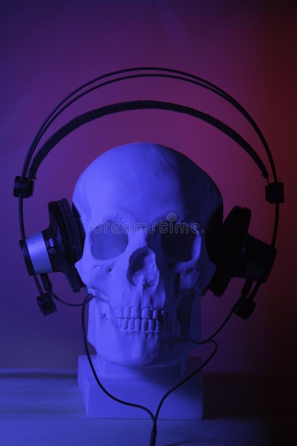 Crânio com auscultadores fotografia de stock royalty free