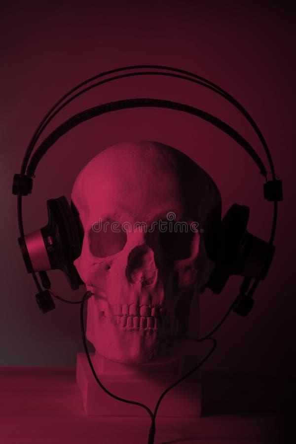 Crânio com auscultadores imagens de stock royalty free