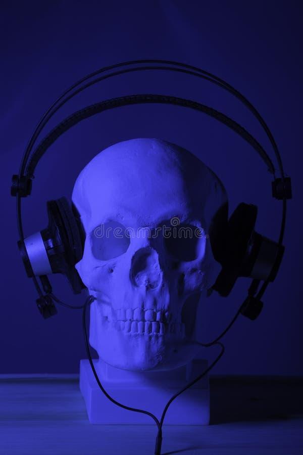 Crânio com auscultadores fotos de stock royalty free