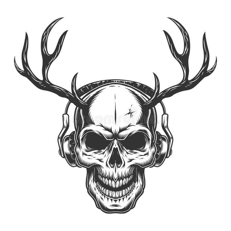 Crânio com auscultadores ilustração do vetor