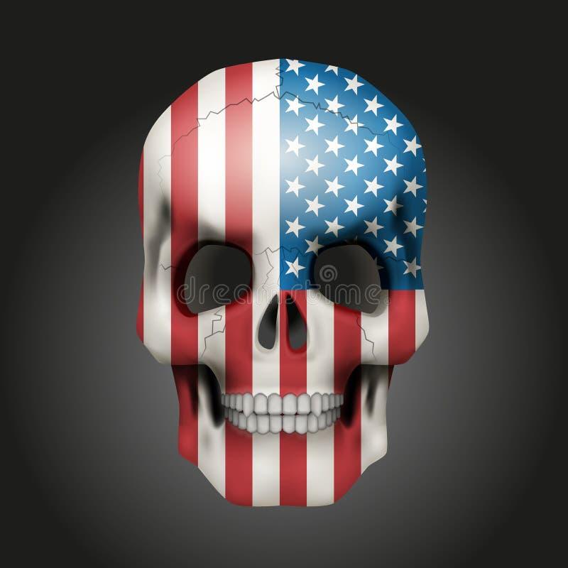 Crânio com bandeira dos EUA ilustração royalty free