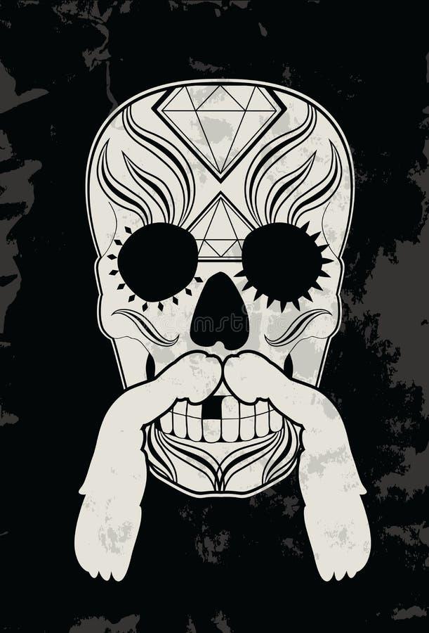 Crânio com bigode ilustração stock