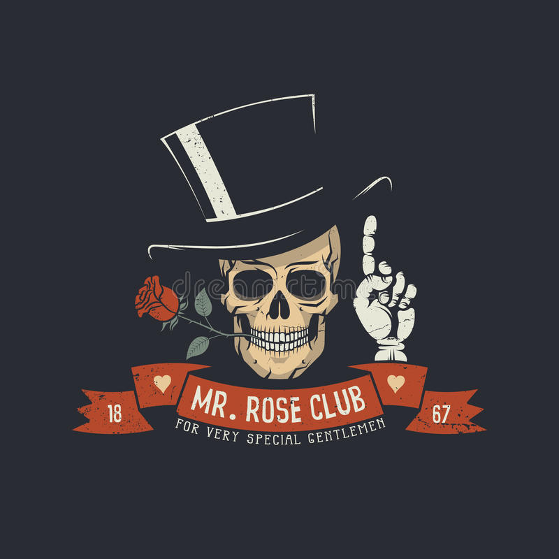 Crânio com cabeça cor-de-rosa e clássica ilustração stock