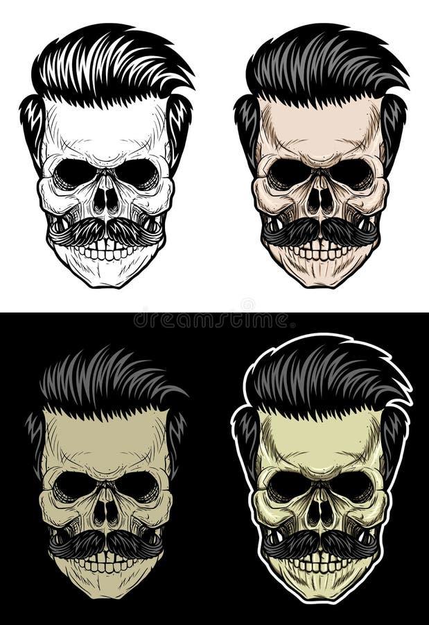 Crânio com cabelo e bigode ilustração royalty free
