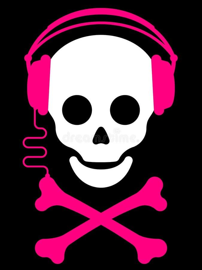 Crânio com com música pl dos auscultadores ilustração do vetor