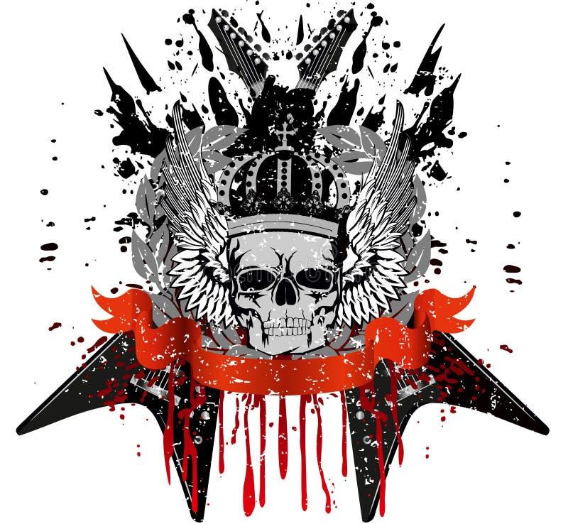 Crânio com coroa ilustração stock